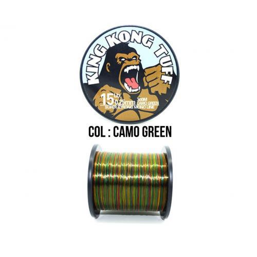 KING KONG TUFF MONOFILAMENT (COL : CAMO GREEN / LBS : 15LB / DIA : 0.25MM / 300M)