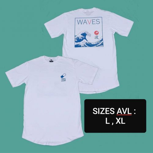 WAVES PRINTED WHITE T-SHIRT [UNISEX]